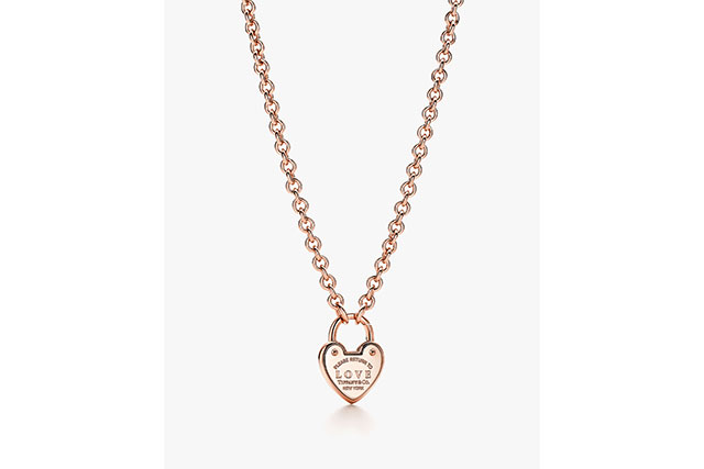 Return to Tiffany® Love heart tag key pendant in 18k rose gold.