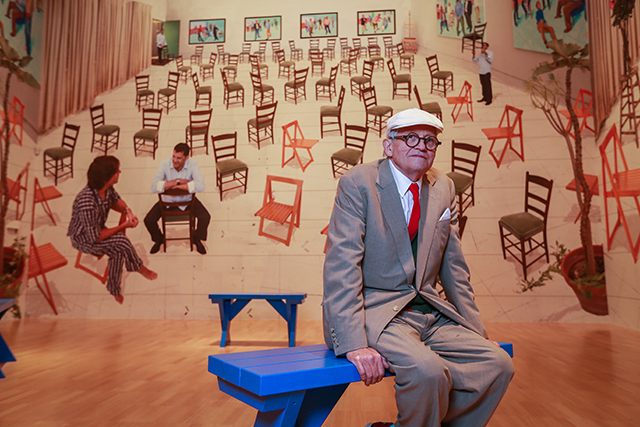 David Hockney inside the world-premiere exhibition David Hockney: Current at the National Gallery of Victoria, Melbourne. Photo: Wayne Taylor