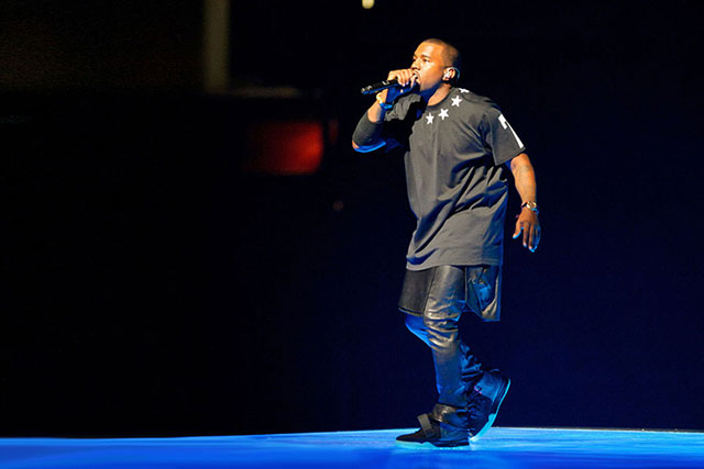 Kanye wears a Givenchy leather kilt on his Watch The Throne tour with Jay-Z