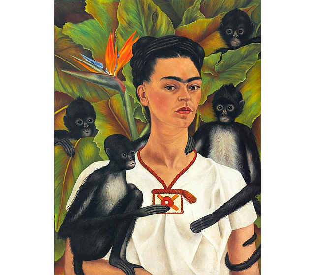 "Frida Kahlo, 'Self-portrait with monkeys', 1943.  This painting was produced during her most prolific period, the early 1940s, which happens to coincide with the breakdown of her marriage to Diego and the time when her ill health began to accelerate. In the year this self-portrait was painted, Frida accepted a teaching position at the School of Painting and Sculpture in Mexico City. Soon after, Frida's health took a turn for the worse and classes had to be held in her home in Coyoacán. Eventually the class dwindled to only four loyal students who called themselves ""Los Fridos"". In this sombre and introspective portrait, Frida is portraying herself as the teacher surrounded by her four remaining students (the four monkeys).<p>Frida Kahlo, <i>Self-portrait with monkeys</i> 1943, oil on canvas 81.5 x 63 cm, The Jacques and Natasha Gelman Collection of Mexican Art © 2016 Banco de Mexico Diego Rivera Frida Kahlo Museums Trust, Mexico DF </p>"