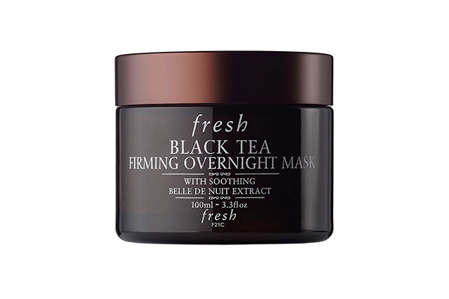 Face mask: After you've removed your make-up, use the time to apply a face mask that you seem to always forget about it on land. Leave your sheet mask at home however, to avoid scaring off the other passengers and opt for a clear formula like the Fresh Black Tea Firming Overnight Mask, $92.