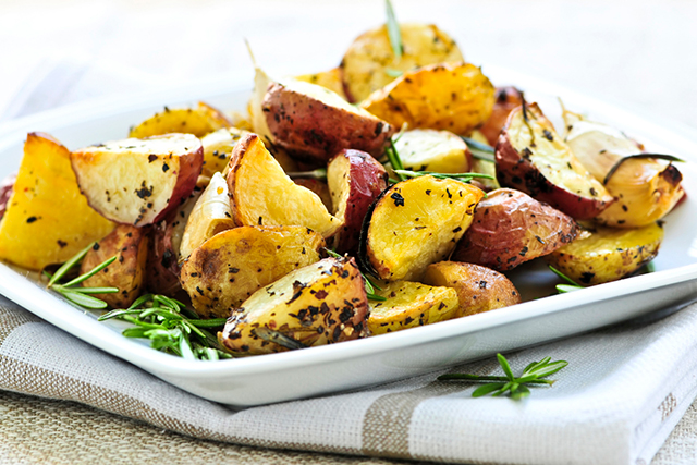 Potatoes are a good source of potassium, in fact they contain more than the much lauded banana. Potatoes (especially roasted and cooled) also contain resistant starch, a type of fibre that nourishes your gut bacteria helping to maintain intestinal health.