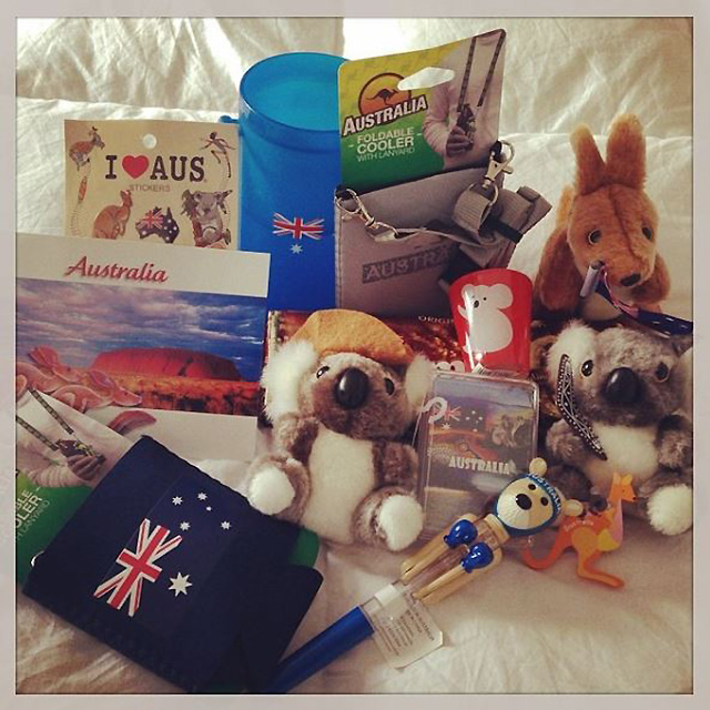 She's proud to be an Aussie, posting pics of her care packages from home.