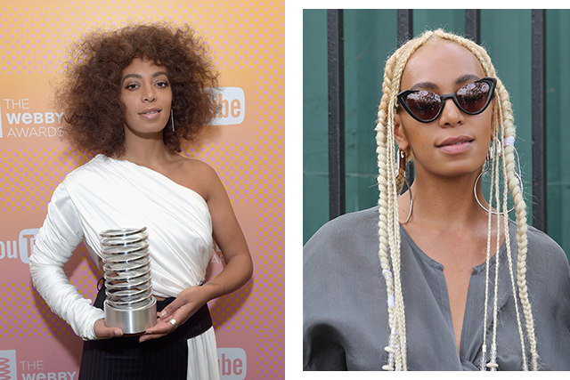Solange debuted platinum blonde dreadlocks.