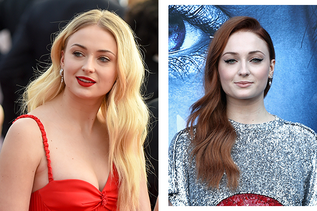 Sophie Turner dyed her naturally blonde hair a deep red for her role as Sansa Stark in Game of Thrones.
