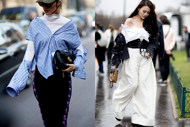 F*ck up your shirt game: Wear half-tucked, off the shoulder, belted with corsets and layered over basics.