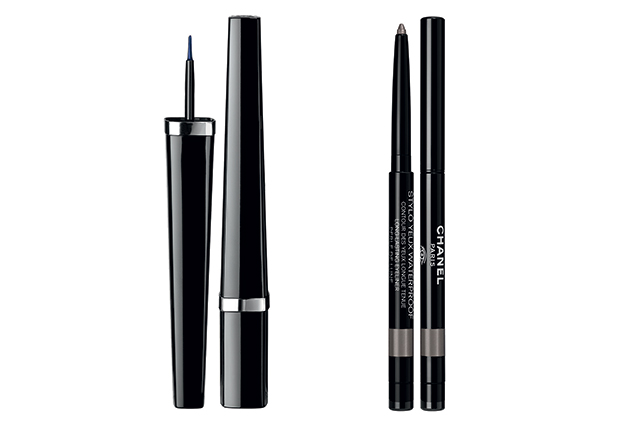 Ligne Graphique Liquid Eyeliner in Dream Blue, $50, and Stylo Yeux Waterproof Longlasting Eyeliner in Perle de Lune, $44
