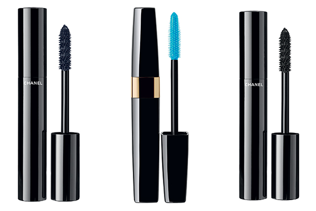 Le Volume mascara in Blue Night, $52, Cils Scintillants Sparkling Mascara Top Coat in Jazzy Blue, $48 and Le Volume mascara in Ultra Noir, $52