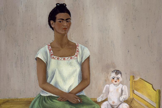 Frida Kahlo, 'Self-portrait with bed (Me and my doll)', 1937. At the age of 18, Frida was the victim of a devastating road accident, where a bus collided with a trolley car she was riding in. She suffered devastating injuries, including a broken spinal column, a broken collar bone, broken ribs and eleven fractures in her right leg. In addition, an iron handrail pierced her abdomen, leaving her unable to have children.  When she painted 'Me and my doll', she had lost three children. This painting appears to depict the sadness and emptiness she felt at not being able to have children, heightened by her expression, the stark cold room and the fact she shows no attachment to the doll.<p>Frida Kahlo, <i>Self-portrait with bed (Me and my doll)</i>, 1937, oil on metal, 40 x 30 cm, The Jacques and Natasha Gelman Collection of Mexican Art © 2016 Banco de Mexico Diego Rivera. Frida Kahlo Museums Trust, Mexico DF </p>