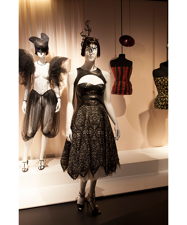 """She didn't have a sense of preservation about these garments, they really were everything to her, they were made by her friends or people she admired, they were things that she had such respect for. And she's such an interesting person - almost like a character from a book.""<p>Left to right: Hat by Philip Treacy 1999, all-in-one Jeremy Scott 1999, shoes by Prada about 2004. <br />&lsquo;Dollar hat&rsquo; by Philip Treacy 2003, dress by Alexander McQueen 2003, shoes by Manolo Blahnik 2001. <br />Hats by Philip Treacy 2001, bustiers by Alexander McQueen 1998 and 2001</p>"