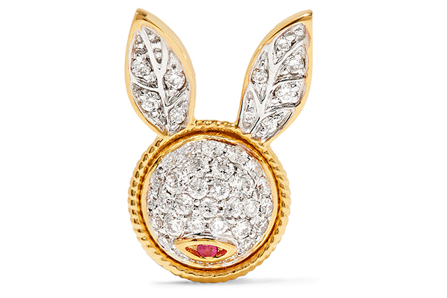 "Yvonne Leon 18-karat, diamond and ruby earring<p><a target=""_blank"" href=""https://www.net-a-porter.com/au/en/product/818631/Yvonne_Leon/18-karat-gold-diamond-and-ruby-earring"">Net-a-Porter.com</a></p>"